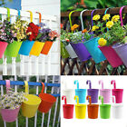 2 Pcs Flower Pot Hanging Balcony Yard Planter Metal Iron Bucket Home Fence Decor