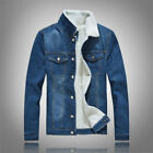Mens Casual Coat Jeans Jacket Winter Holioday Fur Collar Fleece Lined Denim Coat