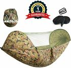 AMZQJD Camping Hammock with Mosquito Net, Portable Nylon Double Hammock with Tre