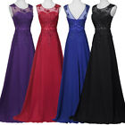 Womens Bridemaid V-Back Chiffon Ball Gown Prom Party Evening Maxi Dress UK 6~20