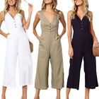 Womens Summer Sleeveless Jumpsuit V Neck Casual Party Romper Wide Leg Crop Pants