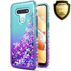 For LG K51 / Reflect Phone Case, Liquid Glitter Cover + Tempered Glass Protector