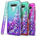 For Lg K51 / Reflect Case, Liquid Glitter Bling Cover + Tempered Glass Protector