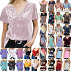 Womens Summer Short Sleeve Casual T-shirt Loose Tops Tunic Blouse Tee Plus Size