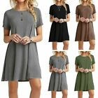 Women's Lady Summer Short Sleeve Casual Loose Sundress Tops Mini T-shirt Dress