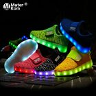 Kids Led USB Rechargeable Glowing Shoes Children's Hook Loop LED Light Shoes
