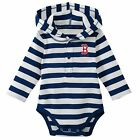 Boston Red Sox MLB Boys Striped Long Sleeve Hooded Bodysuit