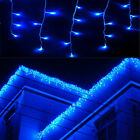 US 10ft 96 LED Hanging Icicle Curtain Light Outdoor Fairy Xmas String Blue Lamp