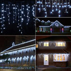US 10ft 96 LED Hanging Icicle Curtain Light Outdoor Fairy String Cool White Lamp