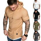 Men Short Sleeve Fitness T-shirt Workout Gym Summer Hooded Hoodie Muscle Tee Top image