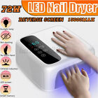 72W Nail Dryer Professional LED Nail Lamp UV Rechargeable For All Gels