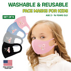 Kids Toddler Children Face Mask Reusable Washable Breathable - 4 Pack Animal Mix