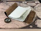 """9x6"""" Vintage Handmade Scroll Leather Journal Travel Diary Leather Bound Notebook"""