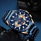 Mens Watches Chronograph Quartz Calendar Waterproof Military Stainless Steel Wristwatches - 31387