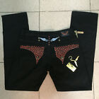 New Mens Robin Jeans Black with All Red Studs Crystal Denim Pants Men size 30-42