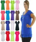 Ladies Womens Short Sleeve Frill Necklace Long V Neck Tunic Gypsy Tops