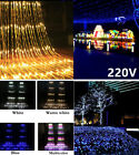 220V 3x3M 320LEDs Waterfall Icicle Curtain String Water Flow Fairy Light Party