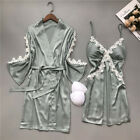 Women Spring summer Robe  Gown Nightwear Bathrobe Nightdress With Chest Pads