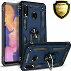 For Samsung Galaxy A20 Case, Ring Kickstand Cover + Tempered Glass Protector
