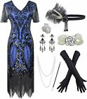 1920s Sequin Vintage Dress Beaded Gatsby Flapper Dress with Accessories Set