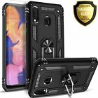For Samsung Galaxy A10s Case, Ring Kickstand Cover + Tempered Glass Protector
