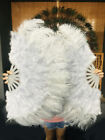 "Light grey 21"" x 38"" Marabou Ostrich Feather fan with Travel Bag"