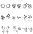 Wholesale 925 Silver Crystal Cz Stud Earrings Drop Dangle Women Girl's Jewelry
