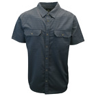 prAna Men's Dark Navy Grey Lined Plaid Cayman S/S Woven Shirt S25