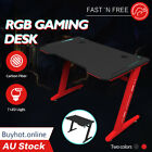 Rgb Gaming Desk Home Office Carbon Fiber Led Lights Game Racer Computer Pc Table