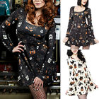 Womens Skull Pumpkin Print Long Sleeve Smock Tunic Mini Dress Halloween Costume