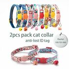 2pcs Pack Cat Collar Personalized Breakaway With Bell Pet Necklace For Small Dog