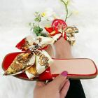 Ladies Womens Flat Scarf Ribbon Bow Slides Sliders Holiday Fashion Sandals Shoes
