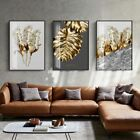 Nordic+Golden+Abstract+Leaf+Flower+Wall+Art+Canvas+Painting+Feathers+Poster+Wall
