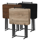 5-Piece Tray Table Set Folding Wood TV Dinner Stand Personal Reading Game Laptop