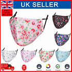 Face Mask Reusable Washable Cotton Covering Removable PM 2.5 Filters Rose Print