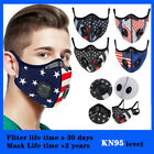 Washable American Flag Face Mask Double Air Purifying Valve Carbon Filter Pad