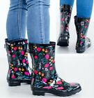 LADIES WOMENS WELLIES FLOWER GARDEN FESTIVAL RAIN WATERPROOF WELLINGTON BOOTS <br/> *ITEM SENT OUT ARE IN US SIZES*
