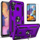 For Samsung Galaxy A21 Case, Ring Kickstand Cover + Tempered Glass Protector