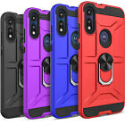 For Moto E 2020 Phone Case, Metal Ring Kickstand Cover+ Tempered Glass Protector