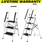 Folding 3 4 Step Ladder Heavy Duty with Non Slip Tread and Anti-Slip Safety Rail