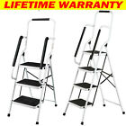 Folding 3 4 Step Ladder With Safety Handrail Anti-Slip Rubber Mat Tread Kitchen