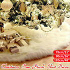 White Christmas Tree Skirt Plush Snow Cover Blanket Mat Home Floor Xmas Decor