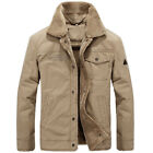 Men's Military Style Bomber Cotton Loose Lapel Outwear Long Sleeve Jacket Warm
