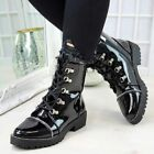 Womens Ladies Combat Ankle Boots Chunky Block Low Heel Lace Up Punk Shoes Size
