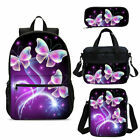 Fashion Butterfly Kids School Backpack Insulated Lunch Bag Pen Case Gifts Lot