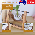 Hanging Glass Terrarium Container Hydroponic Plant Vase Wooden Stand Home Decor