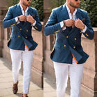Mens Suits Double-breasted Groom Peak Lapel Wedding Party Prom Tuxedos Tailored