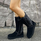 UK Womens Winter Warm Fur Lined Mid Calf Boots Flats Slip On Knit Shoes Size