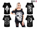 Ro Rox Gothic Wicca Witchcraft Punk Raven Muertos Cold Shoulder Top Tee T-shirt