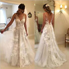 Lace Appliques Wedding Dresses V-neck Backless A-line Tulle Lace Bridal Gown